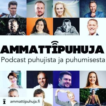 Saan ilokseni olla vieraana @ammattipuhuja.fi kolmannella tuottiksella! Ja loistavassa seurassa vieläpä 🤩 • Ota podi kuunteluun, huipputyyppejä kaikki! 🥳 • #ammattipuhuja #vaikuttaminen #vaikuttuminen #esiintyjä #esiintymistaito #valmentaja #näyttelijä